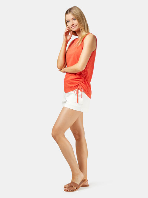 Stella Side Ruched Tank, Red, hi-res