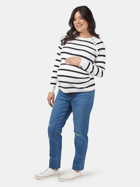 Carla Crop Straight Maternity Jean Light Wash
