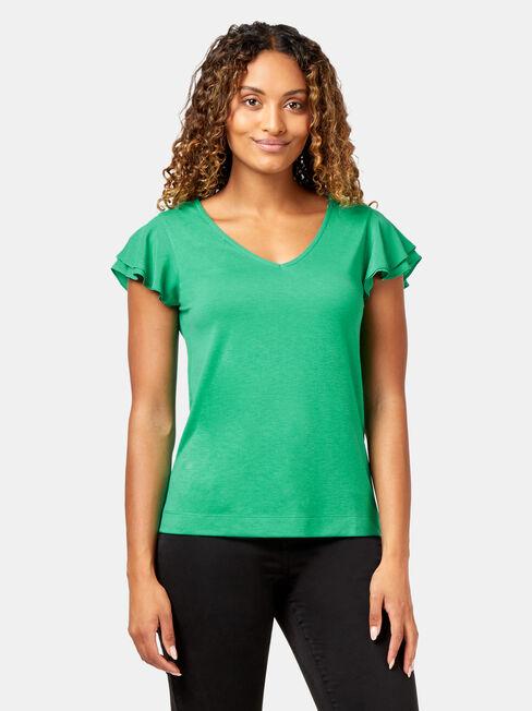 Frankie Flutter Sleeve Top, Green, hi-res