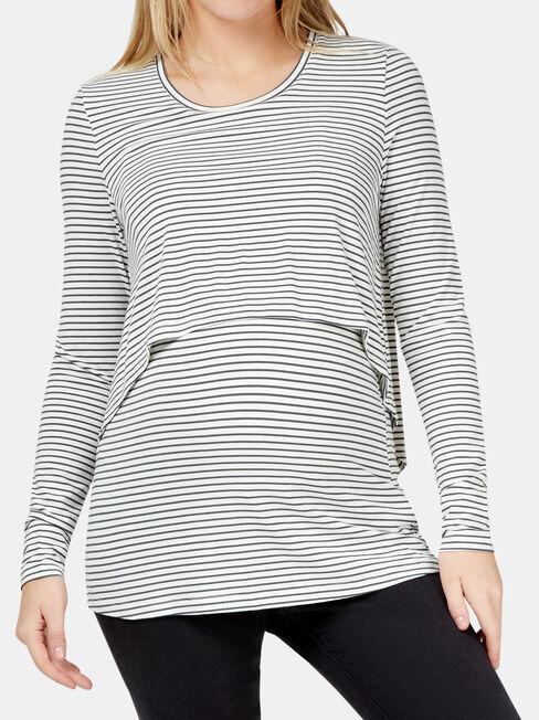 Lauren Layered Maternity Top, Stripe, hi-res