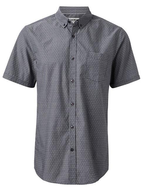 Wallace Short Sleeve Dobby Shirt, Black, hi-res