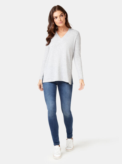 Aria Soft Touch Hoodie, Grey, hi-res