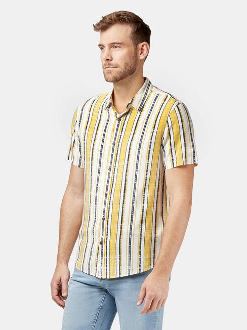 Lou Short Sleeve Stripe Shirt, Yellow, hi-res