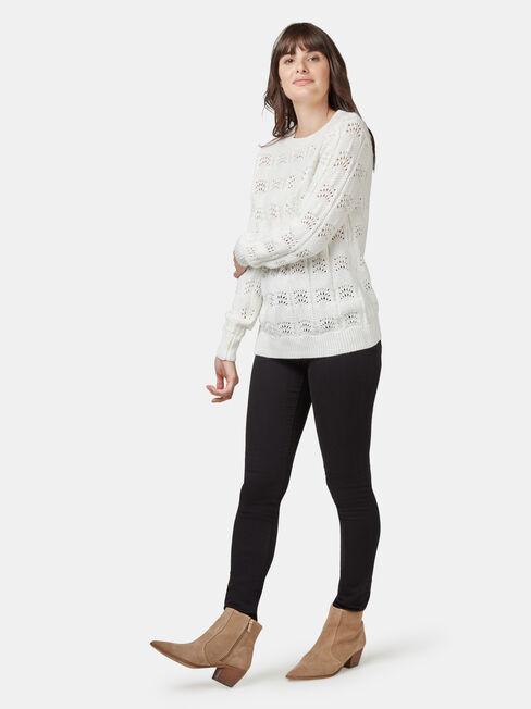Penny Pointelle Knit, White, hi-res