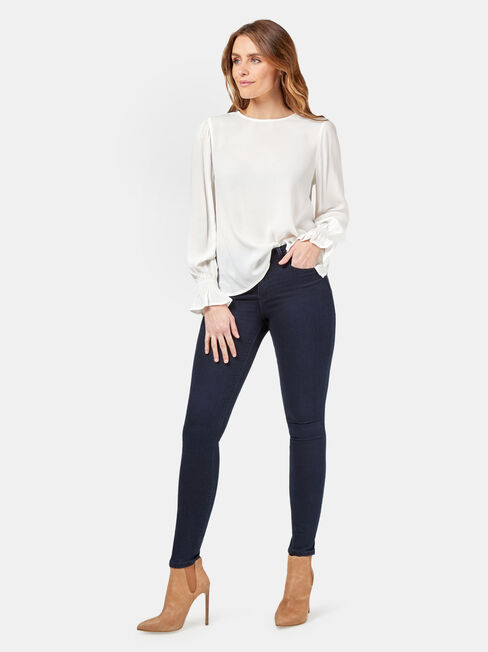 Elliot High Low Blouse, White, hi-res