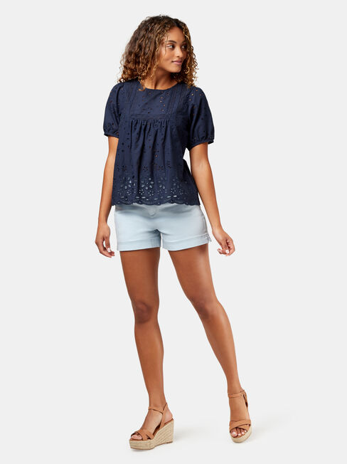 Andie Cotton Broderie Top, Blue, hi-res