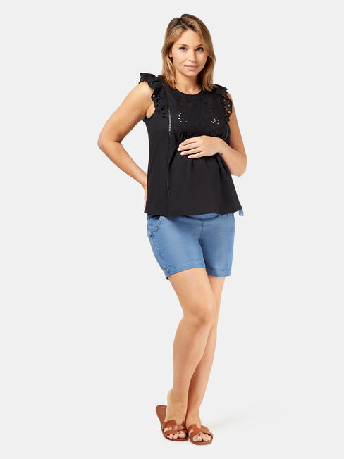 Claire Maternity Broderie Top, Black, hi-res