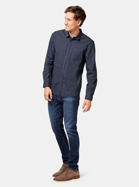 LS Cannon Print Shirt, Blue, hi-res
