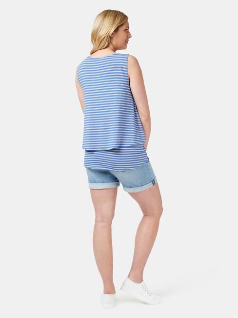 Cerese Layered Maternity Sleeveless Top, Stripe, hi-res