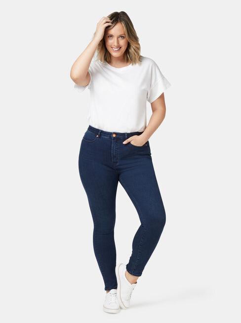 Eco Soft Curve Embracer High Waisted Skinny 7/8 Jeans Dark Indigo, Dark Indigo, hi-res