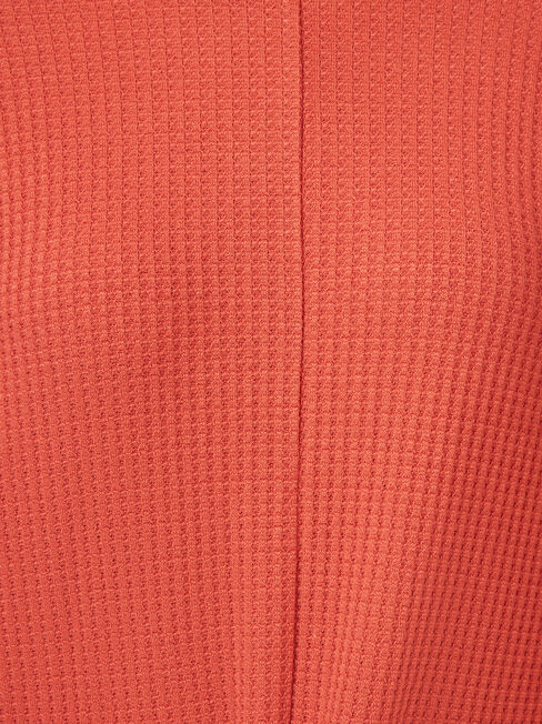 Hannah Tie Front Textured Top, Red, hi-res