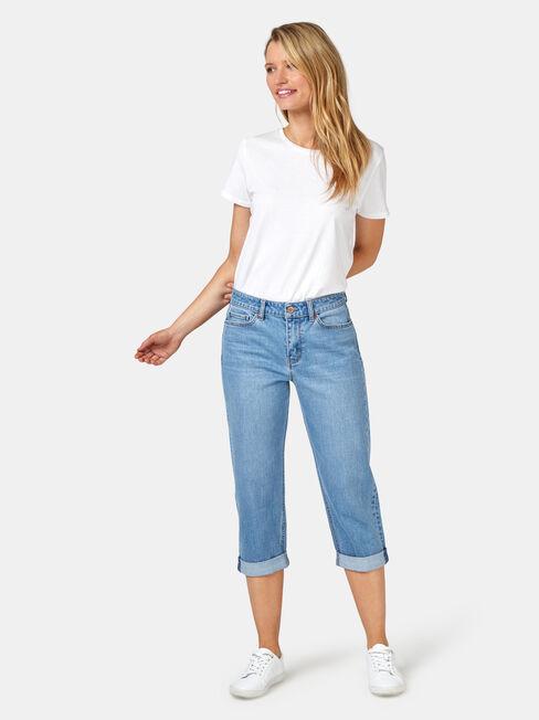 Capri Boyfriend Jeans, Mid Indigo, hi-res