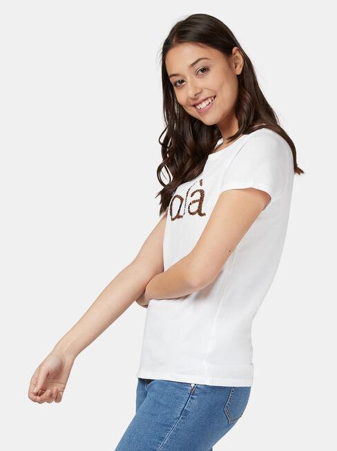 Emma Embellished Slogan Tee, White, hi-res