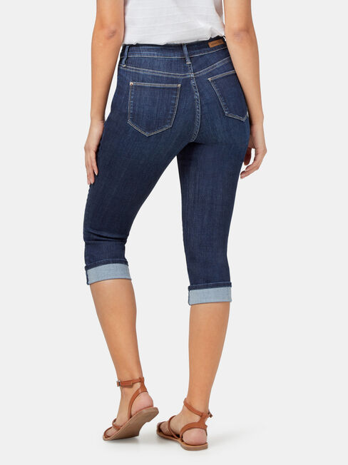 Aggie Mid Waisted Pedal Pusher, Dark Indigo, hi-res