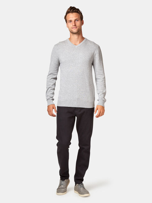Grundy V Nk Knit, Grey, hi-res
