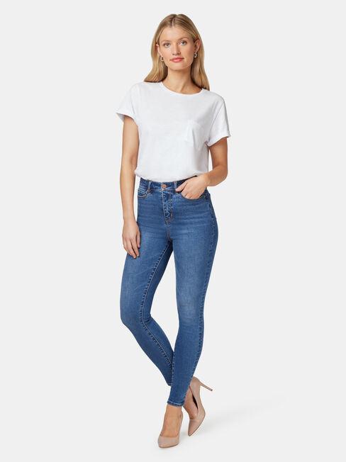 Ellie High Waisted Skinny 7/8 Jeans Bright Indigo
