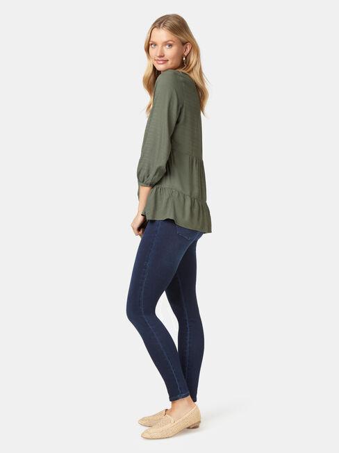 Olivia Long Sleeve Tiered Top, Green, hi-res