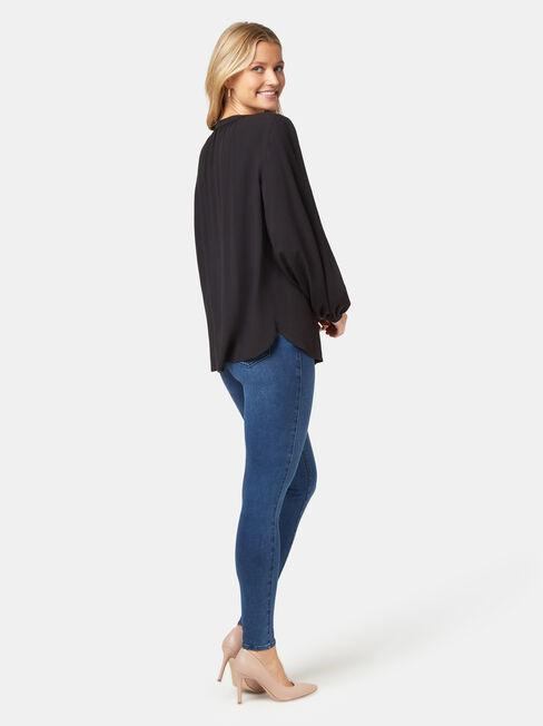 Annie Button Through Blouse, Black, hi-res