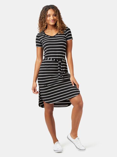 Gerry Stripe Jersey Dress, Black, hi-res