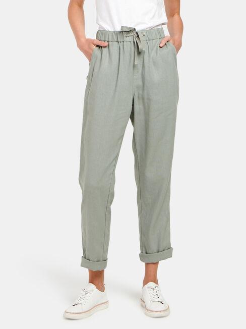 Linen Blend Pant, Green, hi-res