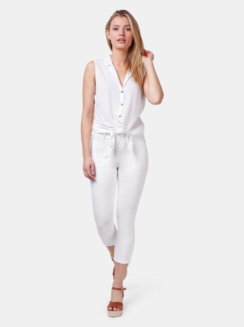 Jenny Jersey Sleeve Shirt, White, hi-res