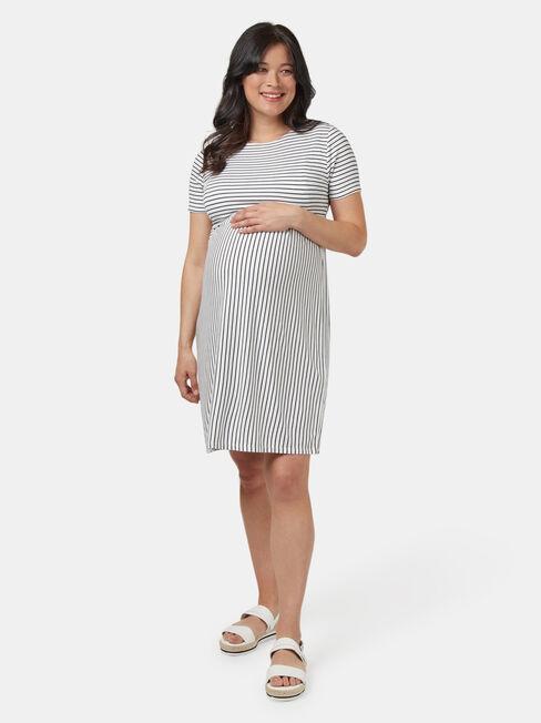 Lorna Layered Maternity Dress, White, hi-res