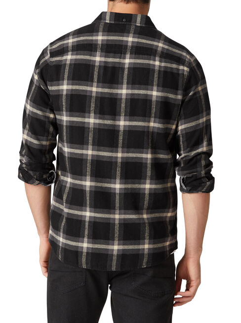 Cordova Long Sleeve Check Flannelette Shirt, Black, hi-res