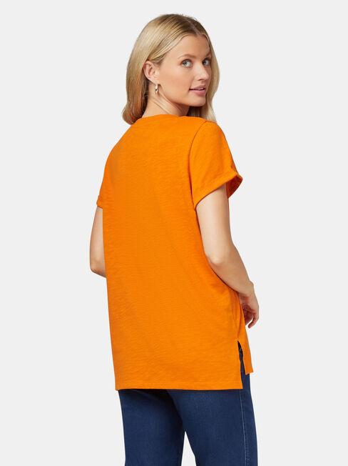 Relaxed Pocket Slub Tee, Orange, hi-res
