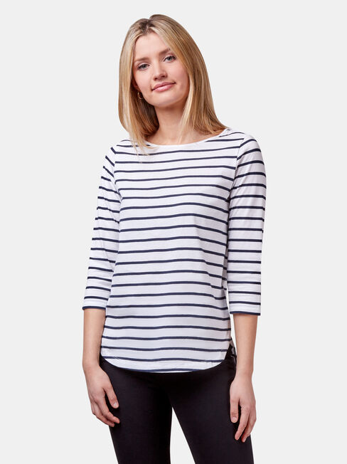 Essential Boatneck Tee, Blue Stripe, hi-res