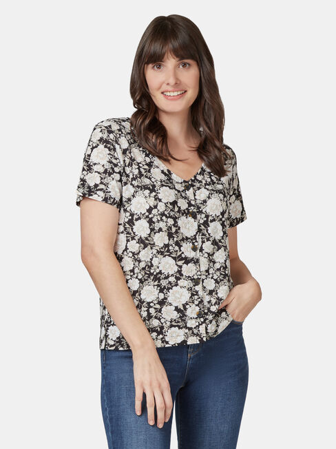 Maddie Button Front Formal Tee