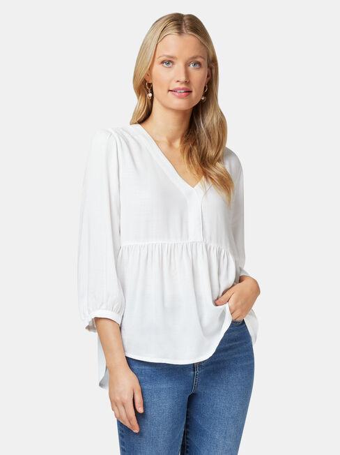 Morgan Textured Blouse, White, hi-res