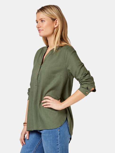 Everly Linen Shirt, Green, hi-res
