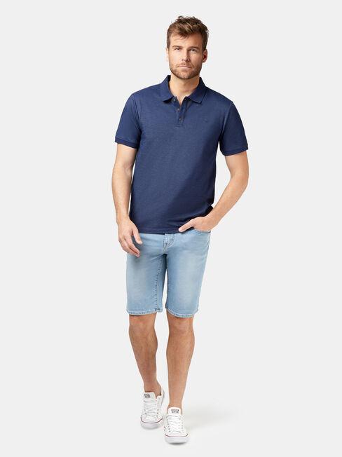 Brent Short Sleeve Pique Polo, Blue, hi-res