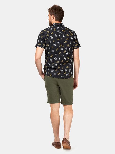 Kash Short Sleeve Print Shirt, Black, hi-res