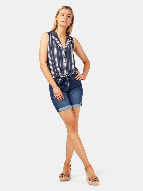 Lynette Tie Front Shirt, Blue, hi-res