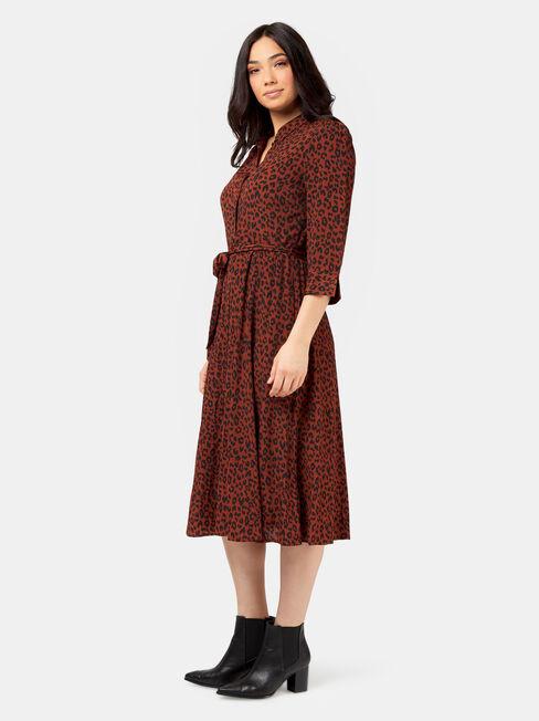 Mishy Midi Shirt Dress, Brown, hi-res