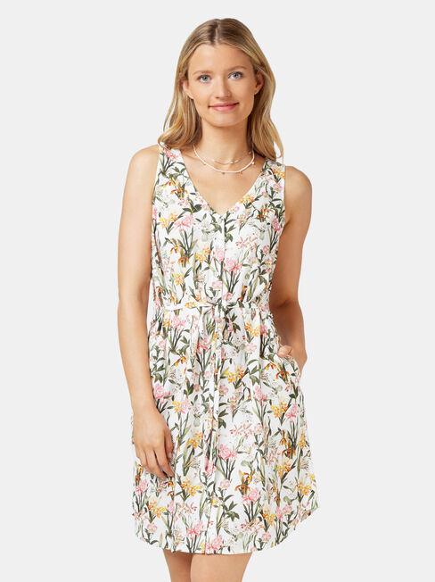 Ariel Button Thru Dress, White, hi-res