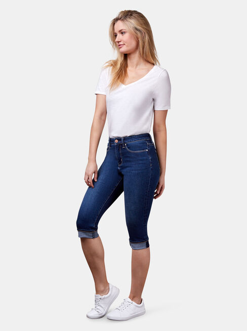 Mid Waisted Pedal Pusher Jeans Dark Vintage