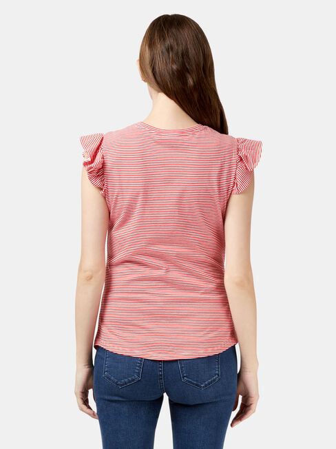 Tracey Maternity Frilled Sleeve Tee, Stripe, hi-res