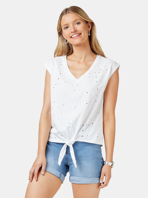 Natalie Palm Broderie Tee, White, hi-res