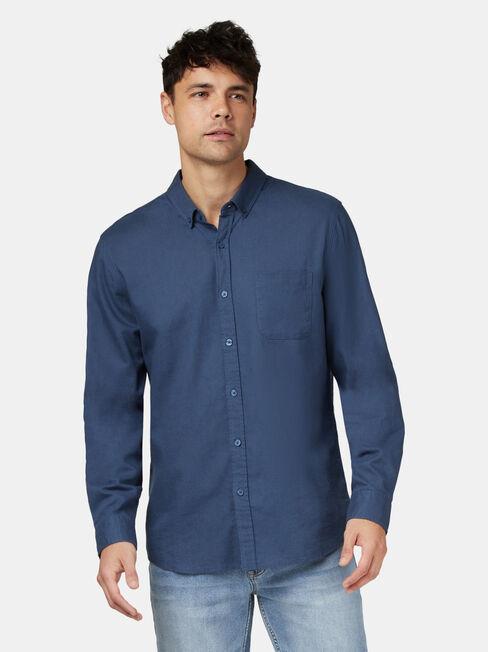 Brody Long Sleeve Textured Shirt, Blue, hi-res