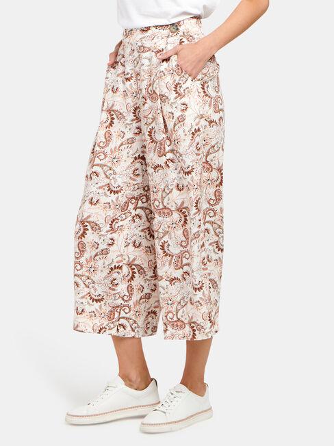 Ava Wide Leg Elastic Waist Pant, Print, hi-res