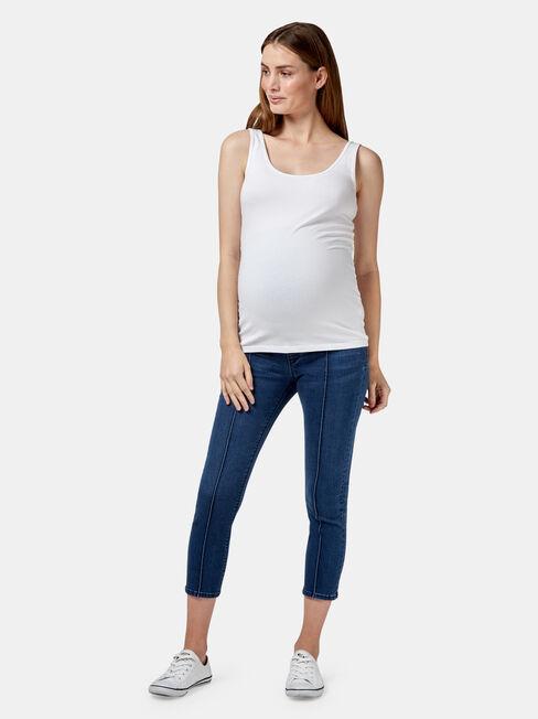 Penelope Maternity Skinny Crop, Blue, hi-res