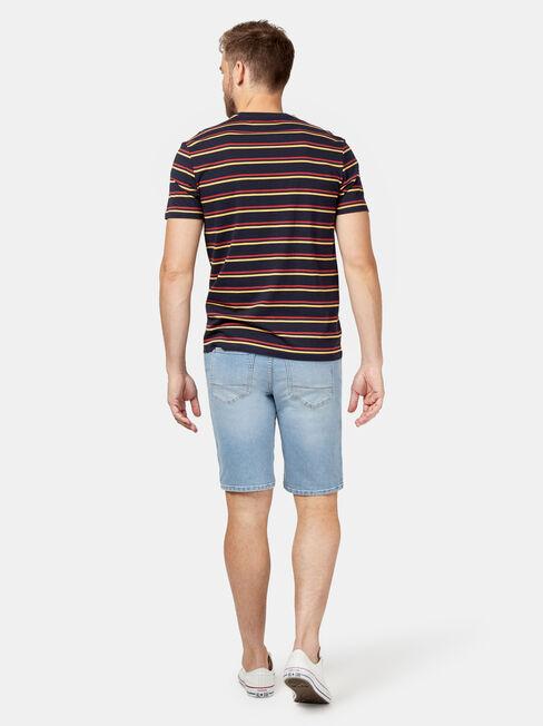 Pheonix Short Sleeve Stripe Crew Tee, Red, hi-res