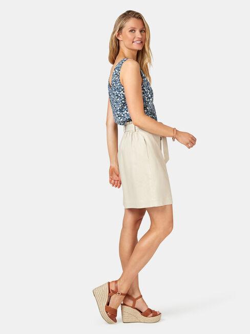 Clara Tie Waist Skirt, White, hi-res