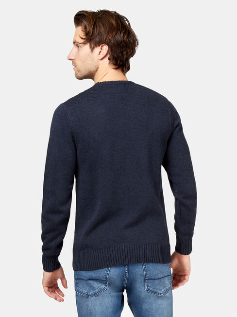 Houston Crew Neck Cable Knit, Blue, hi-res