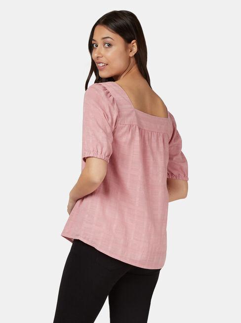 Sienna Square Neck Top, Pink, hi-res