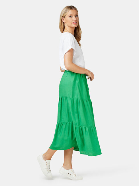 Alexandra Tiered Skirt, Green, hi-res