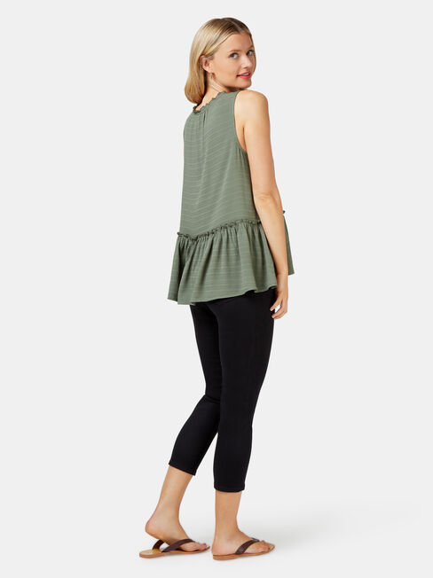 Indi Textured Tank, Green, hi-res