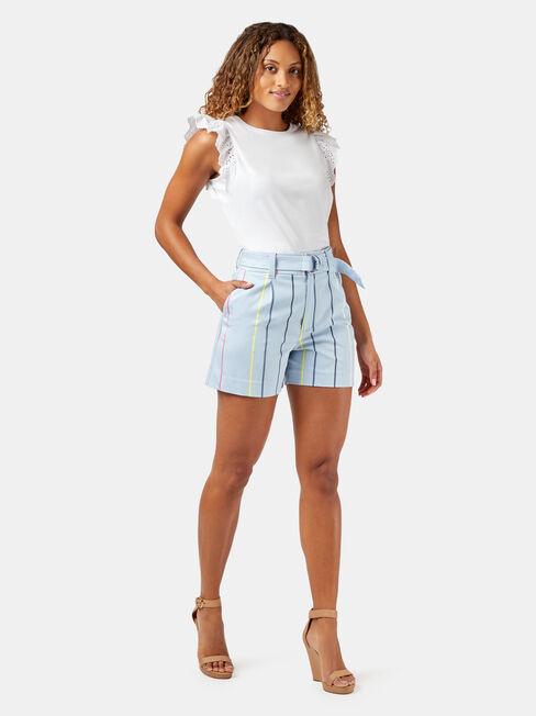 Alissa Sateen Short, Stripe, hi-res